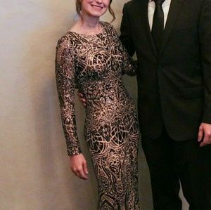 Betsy and Adam Bronze Sequine Gown